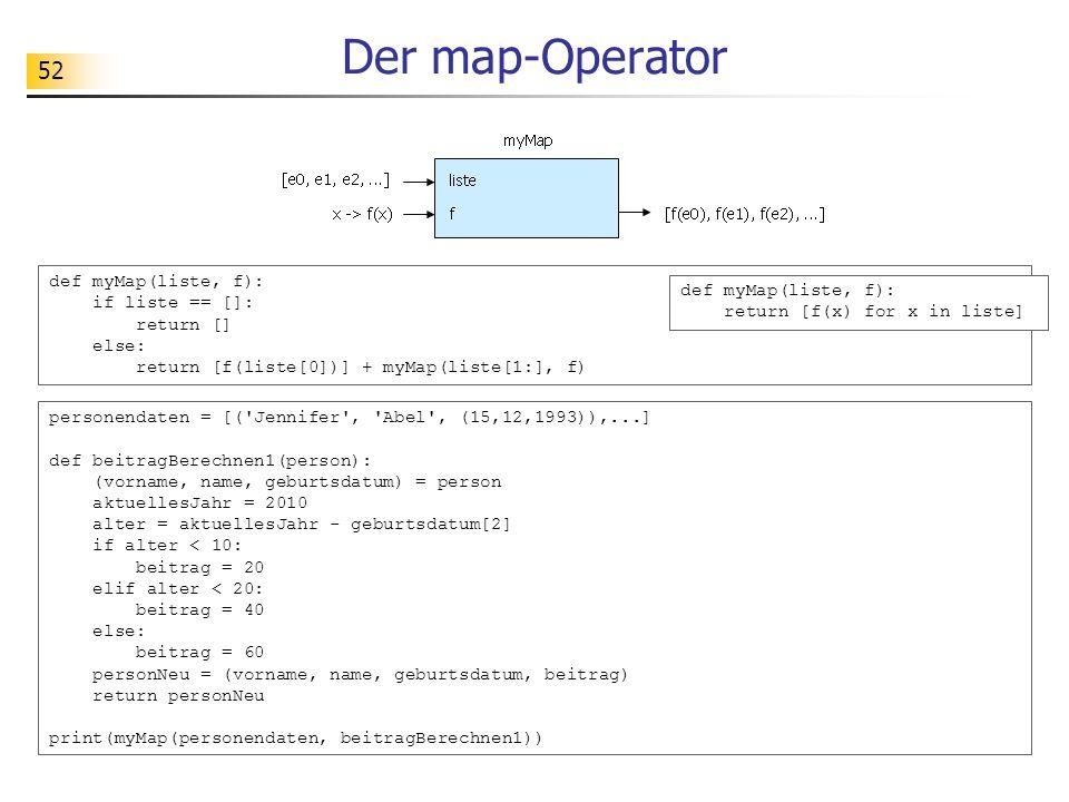 Der map-Operator def myMap(liste, f): if liste == []: